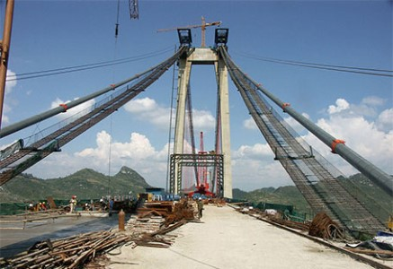 SANY construction cranes in China's Balinghe Bridge