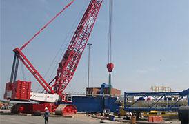 SANY 750t grue sur chenilles participe à la construction en Colombie