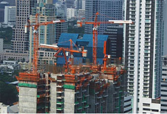 SANY placing boom used in Thailand to build 200 meters high building