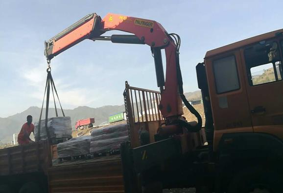 SANY Palfinger's truck mounted crane in the construction of railway in Ethiopia