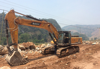 Sany Excavator Machine Building Roads in Laos
