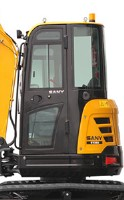 enclosed cab of mini excavators