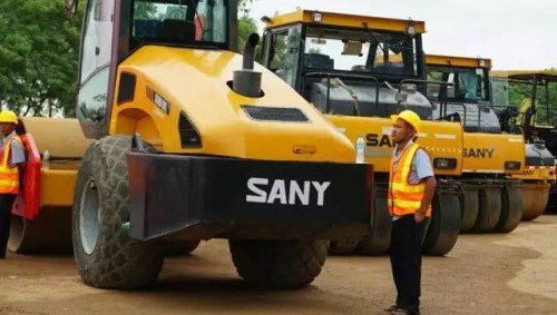 SANY road machinery used in the Yangon–Mandalay Expressway upgrade