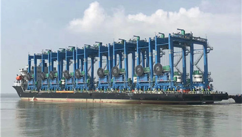 SANY successfully delivers 15 eRTGs to India