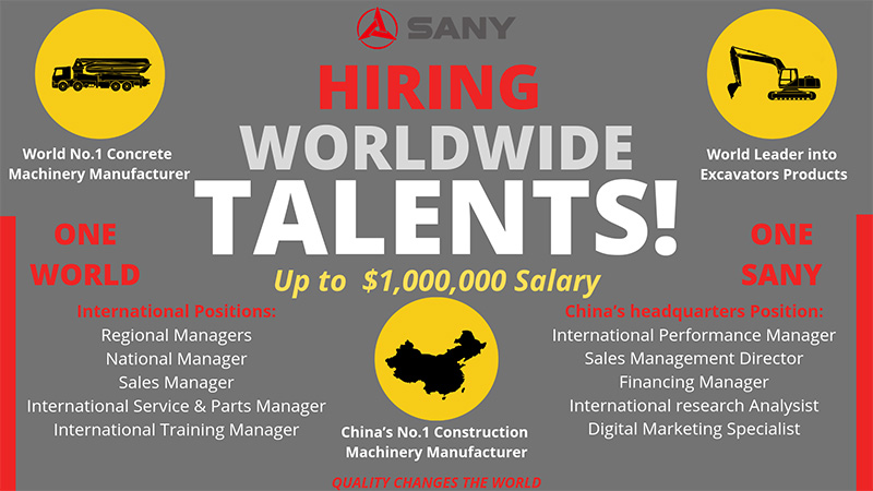 Sany is hiring worldwide talents
