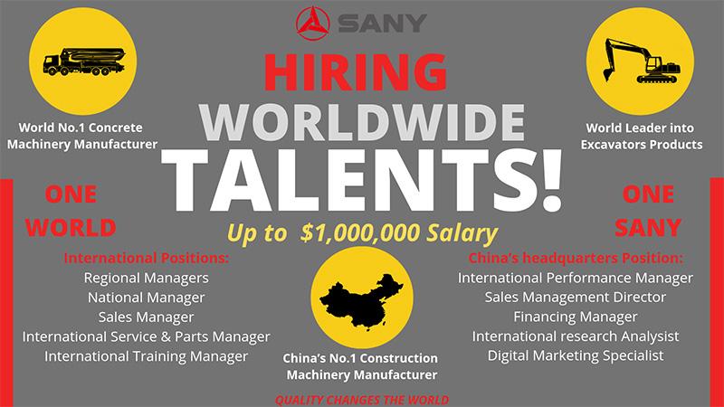 Sany Is Hiring Worldwide Talents