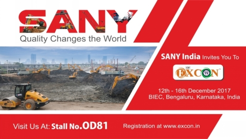 SANY will show how quality changes the world power at India Excon 2017